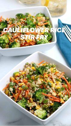 Cauliflower Rice Stir Fry, Cauliflower Recipes, Vegetable Recipes, Vegetarian Recipes, Cooking Recipes, Healthy Recipes, Dinner Side Dishes, Pasta, Vegan Dinners