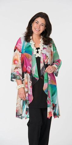 Kasbah multi floral voile waterfall jacket, vest and trouser Mode Kimono, Mode Abaya, Fashion Over 50, Plus Size Women, Plus Size Outfits, Plus Size Fashion, Leggings, Couture, Stylish