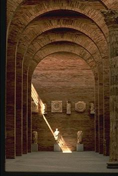 Beautiful, archaic brick arches inside the Museum of Roman Art in Merida by Spanish architect Rafael Moneo.