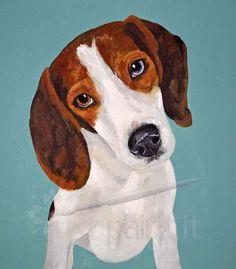 Custom Dog Portrait in Watercolor, Pencil or Acrylic Paint 8 x 10, Beagle Portrait