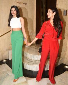Sisters Janhvi & Khushi Kapoor at uncle Manish's bash last night. Fashion Idol, Fashion Pants, Hijab Fashion, Fashion Outfits, Baby Girl Frocks, Frocks For Girls, Night Outfits, Fall Outfits, Casual Outfits