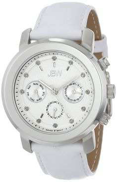 JBW Women's J6276B Bold Multi-Function Diamond White Leather Band Watch