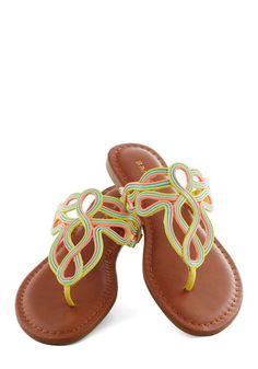 Snow Cone Substitute Sandal - Yellow, Multi, Braided, Beach/Resort, Summer, Flat, Casual, Neon, Faux Leather
