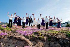 Fun bridal party photo in Pacific Grove, CA