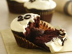Get your chocolate fix with four kinds of chocolate tucked into fun cupcakes.
