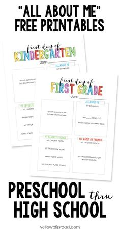 Yellow Bliss Road free back to school printable all about me interview questionnaire