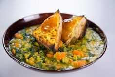 the chew - daphne oz's red lentil sweet potatoe stew. supposedly freezes well. so can make the whole thing and freeze half.