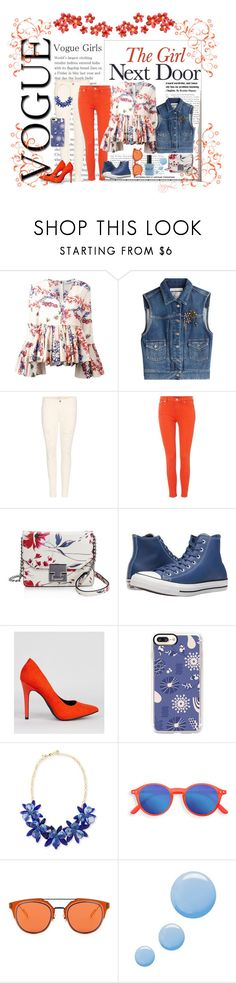 """Vogue Girls Flower Power"" by suzettestokes ❤ liked on Polyvore featuring MSGM, Golden Goose, J Brand, Lauren Ralph Lauren, Ivanka Trump, Converse, New Look, Casetify, Kate Spade and Christian Dior"
