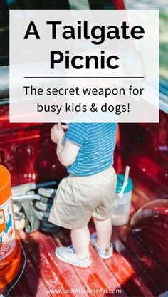 Have dogs and busy kids?? Want to try a picnic with them anyway? Take them on a Tailgate Picnic! - A Cornerstone of Our Summer; the secret weapon for having a picnic with busy kids and dogs!