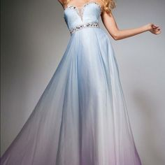 PROM DRESS Blue to white to pink ombré with extensive beading never worn tags on, bought it then fell in love with another dress Camille la Vie  Dresses Prom