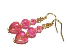 Dangle Heart Earrings - Beaded Fuchsia earring - Hot Neon Pink Jewelry - Girly and Cute Jewellery for Tweens Teen Girls and Women