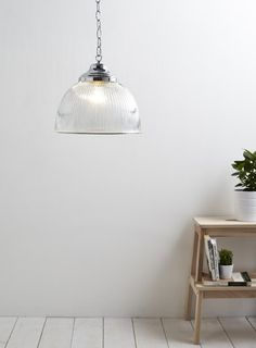 Holly Willoughby Clear Ribbed Pendant Light