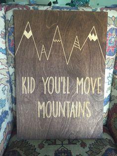 Crib Bedding Sheets - adventure awaits grey mountains - orange and ...