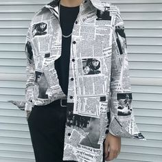 Gothic Rap Hip Hop English Newspaper Letter Print Loose Long Blouse Ov – geekbuyig Source by lissebloms fashion Hipster Outfits, Grunge Outfits, Cool Outfits, Hipster Style, Formal Outfits, Goth Style, Curvy Outfits, Swag Outfits, Urban Outfits