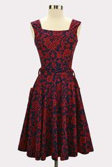 Scroll Print in Red and Navy