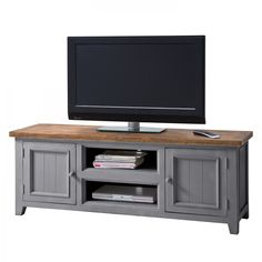 Tv-meubel Balignton - massief grenenhout - Grijs