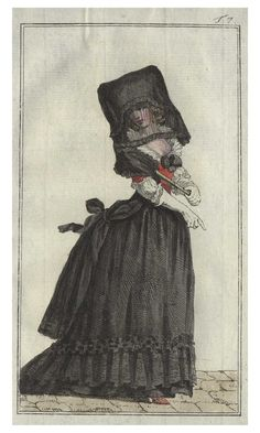 18th century fashion plate showing a German mourning dress 1788