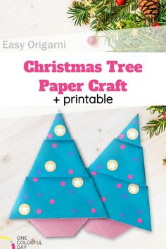 This Easy Origami Christmas Tree is a great winter craft for little kids.It's super easy and fun! Pop-out the printable and fold along the video guide!Have fun making this Christmas craft during the holidays. Christmas Tree Paper Craft, Christmas Origami, Christmas Crafts, Christmas Ornaments, Easy Origami For Kids, Origami Easy, Crafts To Do, Easy Crafts, Paper Crafts