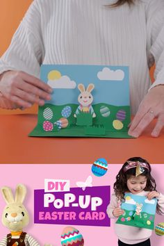 DIY Pop-Up Easter Bunny Card – with Free Printable! A fun and simple pop-up card to make at home thi Diy Easter Cards, Easy Easter Crafts, Easter Art, Bunny Crafts, Paper Crafts For Kids, Easter Bunny, Bird Crafts, Harry The Bunny, Easter Activities For Kids