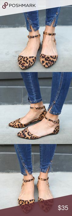 """Last❣️ Leopard Ankle Strap Flats ❣️Leopard Ankle Strap Flat.❣️Very limited Sizing! Jeans are Also Available❣️ A beautiful suede detailed flat that is a must have for every outfit! A pointed toe silhouette with an ankle cuff and buckle closure. Finished with a lightly padded insole. Super comfortable and chic for work or play!  Material: Vegan Suede (man-made) Sole: Rubber Measurement Heel Height: 0.25"""" Flat (approx). No Trades. Price is Firm Unless Bundled. Glamvault Shoes Flats & Loafers"""