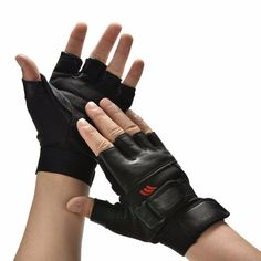 1Pair Men Black PU Leather Weight Lifting Gym Gloves with wrist strap