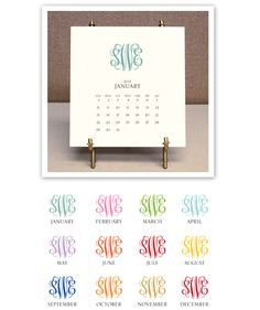 Stacy Claire Boyd | Calendar & Easel | Monogrammed 2012 Desk Calendar & Easel | www.sweetbayprints.com