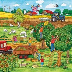 This illustration will be featured on the back cover of this March's Highlights for Children . Writing Pictures, Picture Writing Prompts, English Lessons, Learn English, Picture Comprehension, Picture Composition, Farm Theme, Picture Description, Eyfs