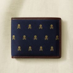 Rugby Ralph Lauren Silk and Leather Skull Wallet - I want this!