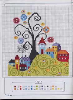 quilting like crazy Cross Stitch House, Cross Stitch Tree, Cross Stitch Borders, Modern Cross Stitch Patterns, Cross Stitch Charts, Cross Stitch Designs, Cross Stitching, Cross Stitch Embroidery, Patch