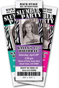 Slumber Party Invitation Zebra Print Ticket Invite Sleepover Birthday Photo Cute | eBay