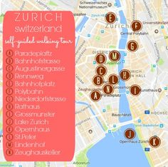 Zurich Self-Guided Walking Tour Map