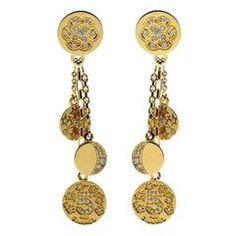Chanel Diamond Gold Charm Earrings