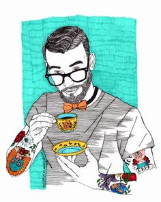 Man having tea, illustration, tattoos, Labaribaruska