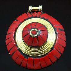 Gold Tone Metal Pendant Red Coral Mosaic Tiles Women Nepal Fashion Jewelry Gift