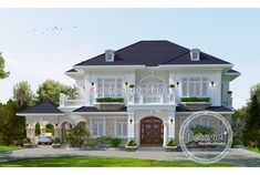 Mẫu thiết kế biệt thự đẹp 2 tầng Tân cổ điển (CĐT: Ông Long - Hà Tĩnh) KT16148