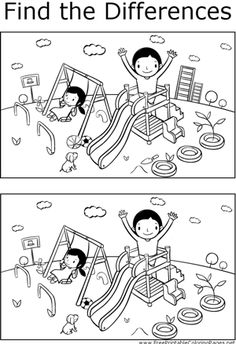 There are several differences that can be found between the two pictures of children playing on a playground in this printable coloring page for children.