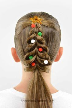 Christmas Tree Pull-Through Braid - crazy hair day? Kids Braided Hairstyles, Christmas Hairstyles, Little Girl Hairstyles, African Hairstyles, Hairstyle Braid, Hairstyles 2016, 1920s Hairstyles, Teenage Hairstyles, Toddler Hairstyles
