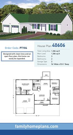 15  Best Ranch House   Barn Home   Farmhouse Floor Plans and Design     Ranch House Plan 40606   Total Living Area  1 386 SQ FT  3 bedrooms and