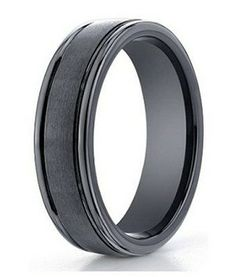 SIAWASE Mens Black Tungsten Wedding Ring 8mm Polished Beveled Edge Matte Brushed Finish Center Ring