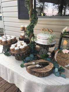 In this post I share inexpensive and easy ways to decorate for an outdoor wedding. Rustic outdoor wedding ideas, Boho rustic wedding, wood cake stand, wedding ideas for a backyard, how to create a rus Wedding Table Toppers, Wedding Cake Display, Wedding Cake Rustic, Rustic Wedding Centerpieces, Rustic Cake, Rustic Cupcake Stands, Rustic Birthday Cake, Western Wedding Cakes, Rustic Wood