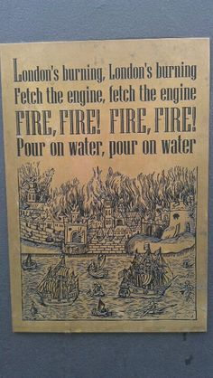 A memorial plaque of the Great Fire of London at the Monument. The Fire Of London, English Homework, London Drawing, School Organisation, Kids Homework, The Great Fire, Forest School, Teaching History, Classroom Inspiration