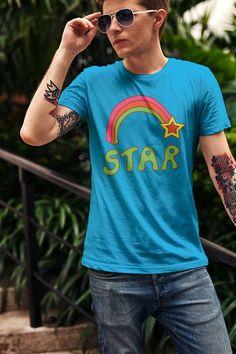 88302f8e Items similar to Retro Rainbow Seventies Boho Shirt Graphic Tee Unisex T- shirt Shooting Star Design 70s Vintage Design on Etsy