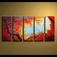 Beautiful Contemporary Wall Art Hand Painted Oil Painting Gallery Stretched plum blossom. This 5 panels canvas wall art is hand painted by Bo Yi Art Studio, instock - $141. To see more, visit OilPaintingShops.com