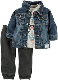 Featuring a classic denim jacket, this set is complete with cozy terry pants and a soft graphic tee. Toddler Outfits, Baby Boy Outfits, Kids Outfits, Carters Baby Boys, Kids Fashion Boy, Outfit Sets, Bodysuit, Clothes, Boy Clothing