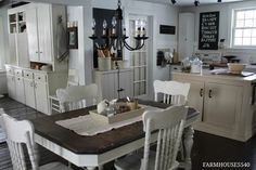 Love those carved oak chairs painted white.  I'd add a glaze to bring out the detail.  Search Craig's list.  Time for a change!!  FARMHOUSE 5540