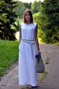maxi dress/ linen maxi dress/ flax dress/ linen long dress