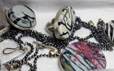 Jane Dzisiewski: Work for Yorkshire Sculpture Park - Assorted resin handmade stones mounted in silver