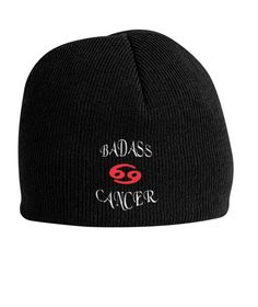 Cancer Zodiac Knit Beanie Gift - Funny Badass. #TeamCancer,#CancerZodiac,#Cancerian,#CancerGift.