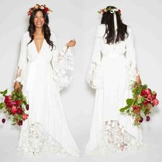 Discount 2015 Summer Beach BOHO Wedding Dresses Bohemian Beach Hippie Style Bridal Gowns With Long Sleeves Lace Flower Custom Plus Size Slim Line Wedding Dresses Taffeta Wedding Dresses From Orientbridal, &Price; Long Sleeve Bridal Dresses, Wedding Dresses Plus Size, Best Wedding Dresses, Bridal Gowns, Bridesmaid Dresses, Dress Long, Wedding Lace, Dress Wedding, Trendy Wedding