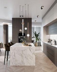 Alexey Seldin on Behance Modern Kitchen Interiors, Luxury Kitchen Design, Kitchen Room Design, Contemporary Kitchen Design, Kitchen Cabinet Design, Luxury Kitchens, Home Decor Kitchen, Interior Design Kitchen, Home Kitchens